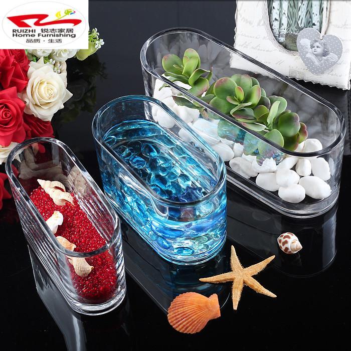 Ultra-White Transparent Goldfish Bowl Aquarium Glass Rectangular Hydroponic Plants Container Vase Desktop Placed