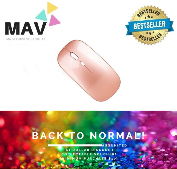 MAV Store - Work From Home! Shipped Locally! Lowest Price in SG! LATEST Version 2.4Ghz 4 Buttons Rechargeable Silent Slim Mini Ergonomic USB Wireless Mouse With Built-in Rechargeable High Quality Lithium Battery - Black & Rose Gold In Stock Now! With Box!