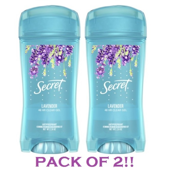 Buy Secret Antiperspirant and Deodorant for Women, Original Clear Gel, Luxe Lavender Scent, 2.6 Oz (Pack of 2) Singapore