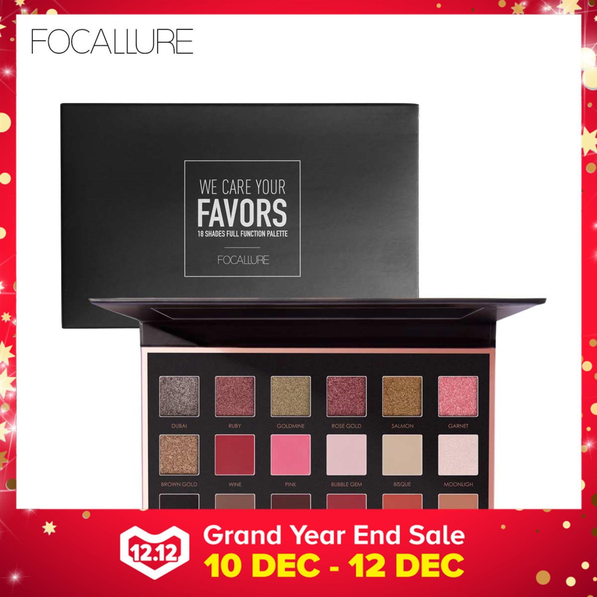 FOCALLURE Pro 18 Colors Glitter Matte Easy to Wear Warm Smokey Eye Shadow Palette Eyes Cosmetics
