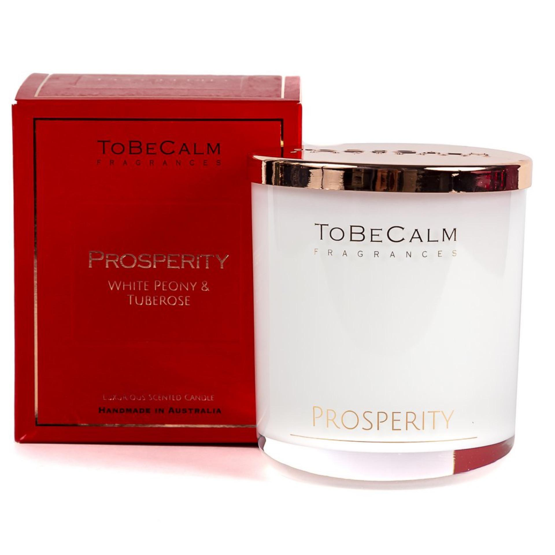 To Be Calm Prosperity - White Peony & Tuberose -  Extra Large Soy Candle