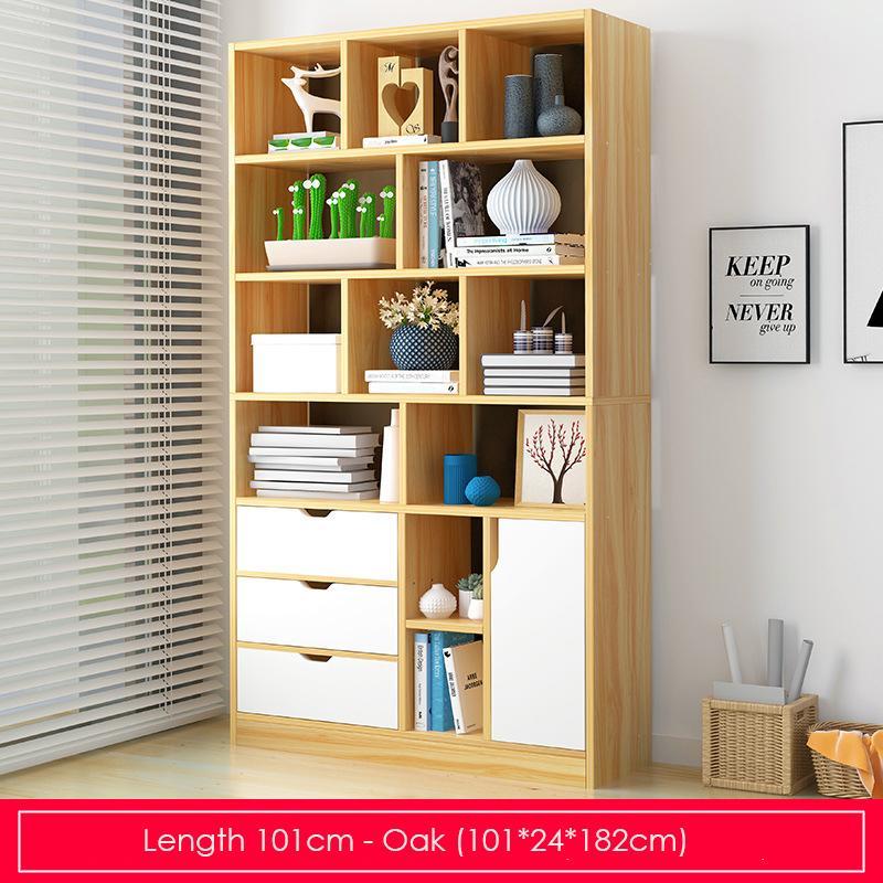 Oak Modern Storage Display Bookshelf-Length 101cm