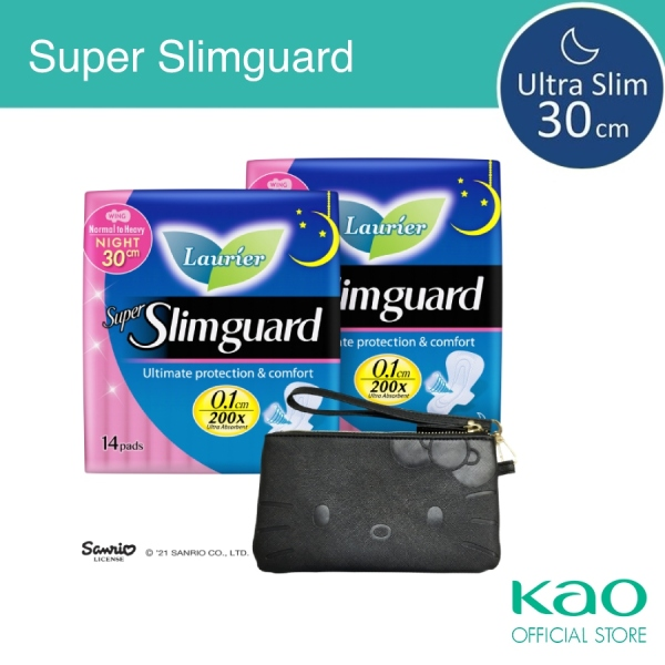 Buy Laurier Super Slimguard 30cm Twin pack with free Hello Kitty wristlet Singapore