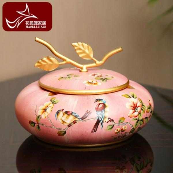 American Village with Lid Coloured Drawing Ash Tray Creative Ceramics European Style Living Room Teapoy Table Vintage Storage Box Decorations And Ornaments