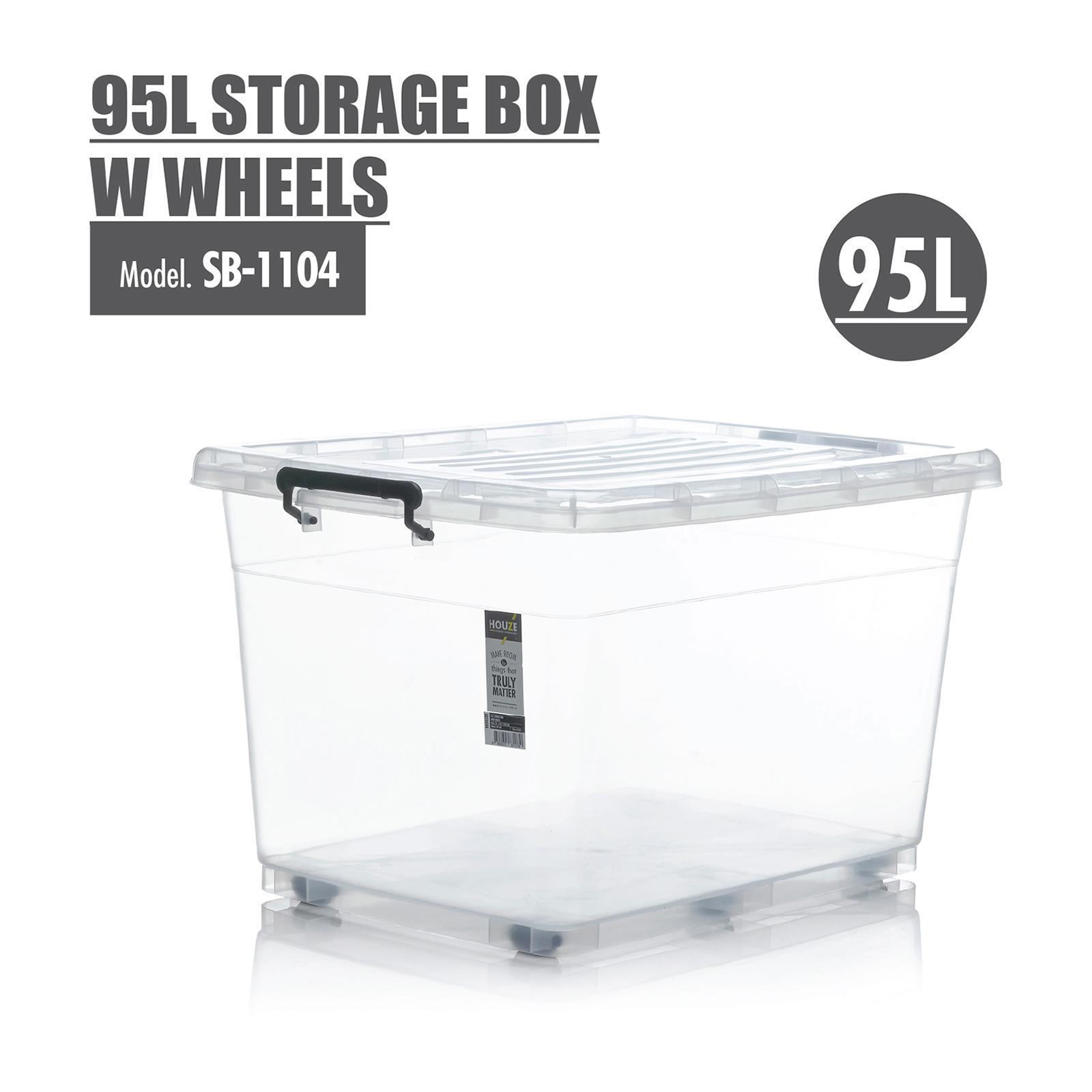 Houze 95L Storage Box With Wheels - SB-1104-CLEAR