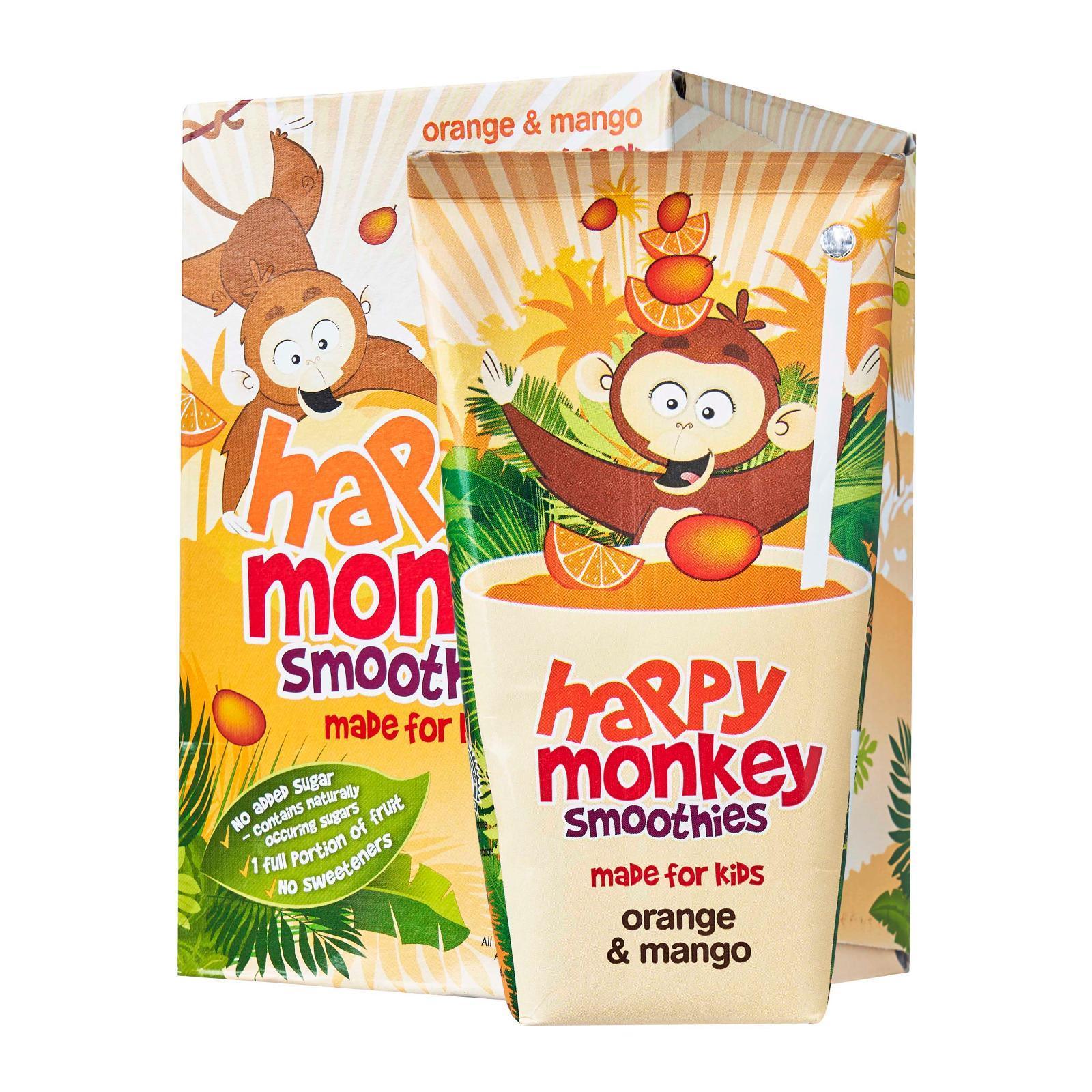 HAPPY MONKEY 100-Percent Fruit Smoothies - Made for Kids - Orange Mango x4