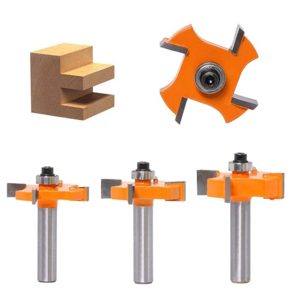 Milling Cutter Woodworking Tool, Sharp Slotting Cutter, Shank T-Slot Router Slotting Carbide, Durable Router Bit Three - Piece Set