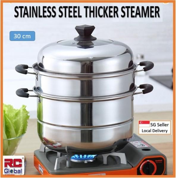 RC-Global Steamer / Steamer Pot / 30-32 cm Stainless Steel Steamer Pot /  Kitchen Steamer / 3 Layer multipurpose / Energy Saver Steamer Singapore