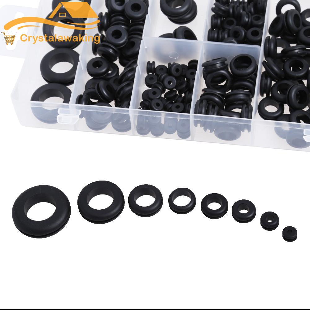 180pcs Rubber Grommet 8 Popular Sizes Grommet Gasket for Protects Wire