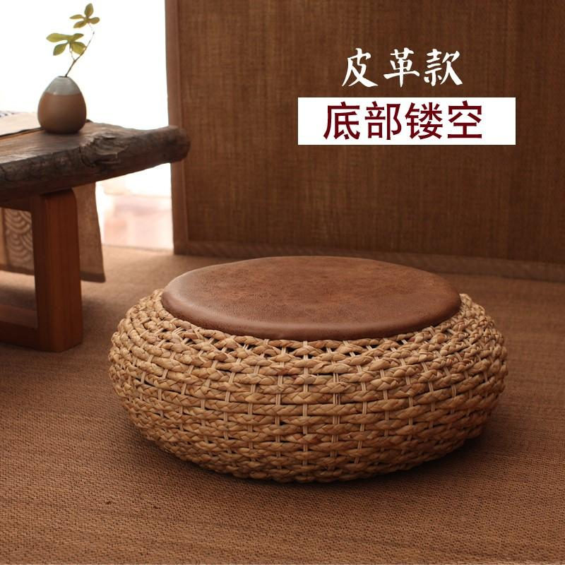 Seat throw pillow Meditation Household Meditation Flax Futon throw pillow Japanese Style Straw Coaster on the Ground Fabric Straw Thick