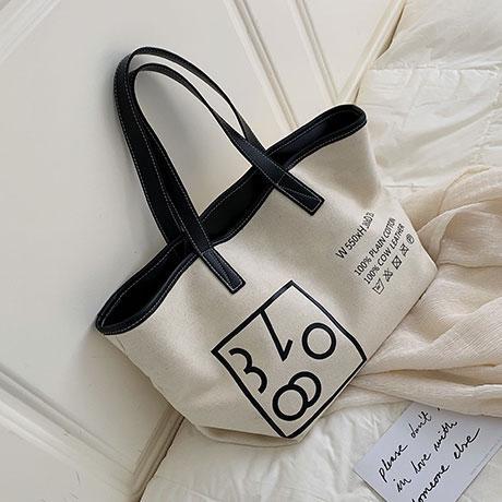 B: Big Book Bags Female 2019 New Style Fashion Korean Style Leisure Canvas Tote Bag Fashion Western Style Versatile Shoulder Bag Shopping Bag