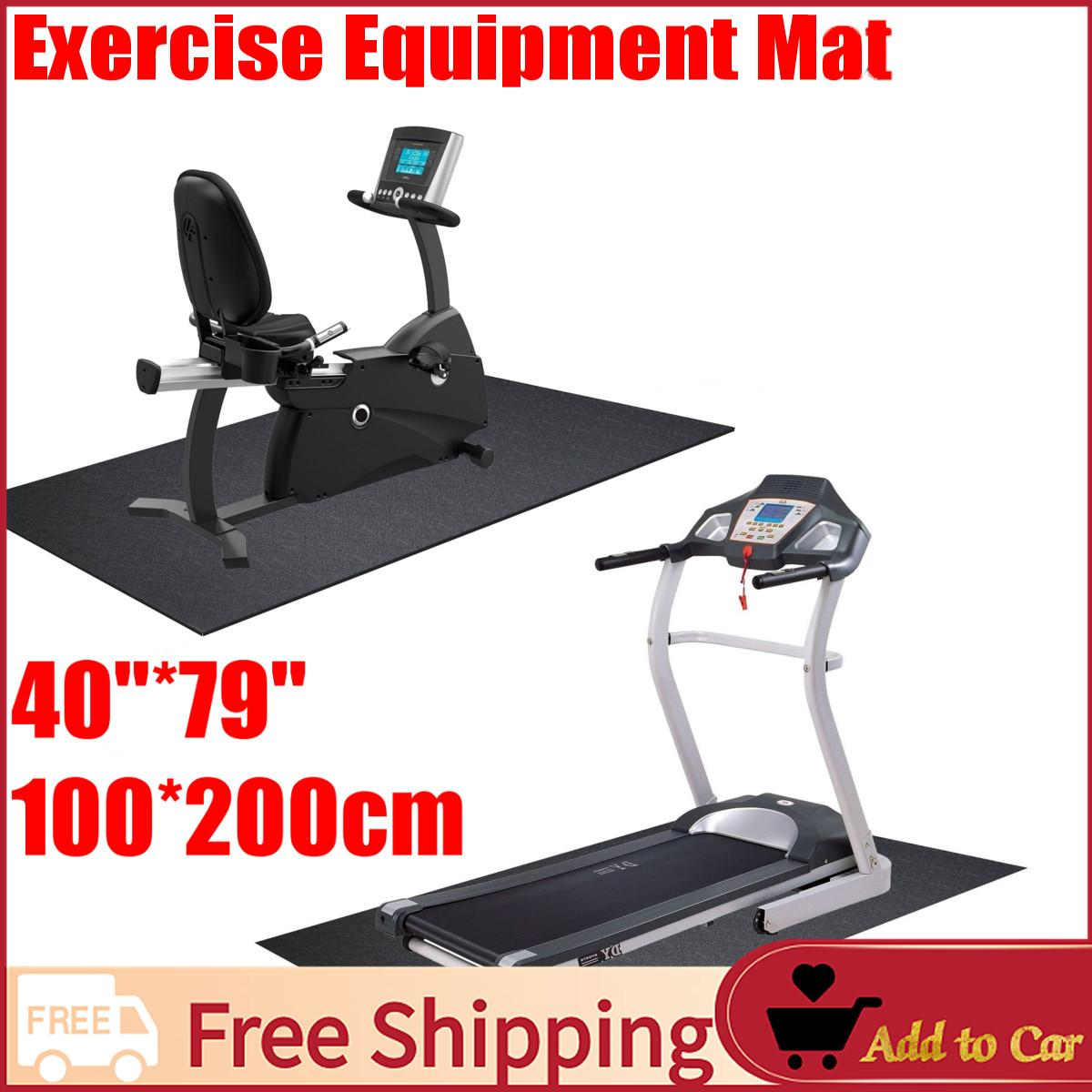 【free Shipping】exercise Mat 3x6.5-Ft Gym Equipment Gofit For Treadmill Bike Protect Floor Black By Moonbeam.