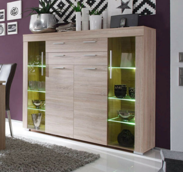 display cabinet, wine and drinks cabinet, living room storage, LED included, from Trendteam of Germany