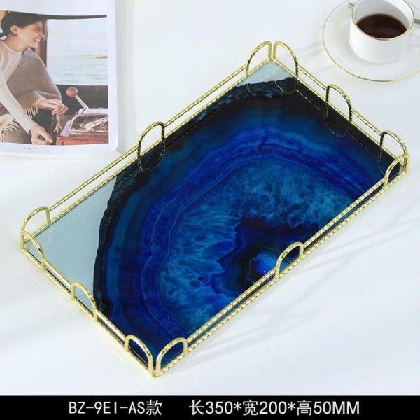 Northern Europe Light Luxury Metal Agate Tray Living Room Teapoy Table Glass Storage Tea Tray Fruit Plate Model Room Soft Decoration