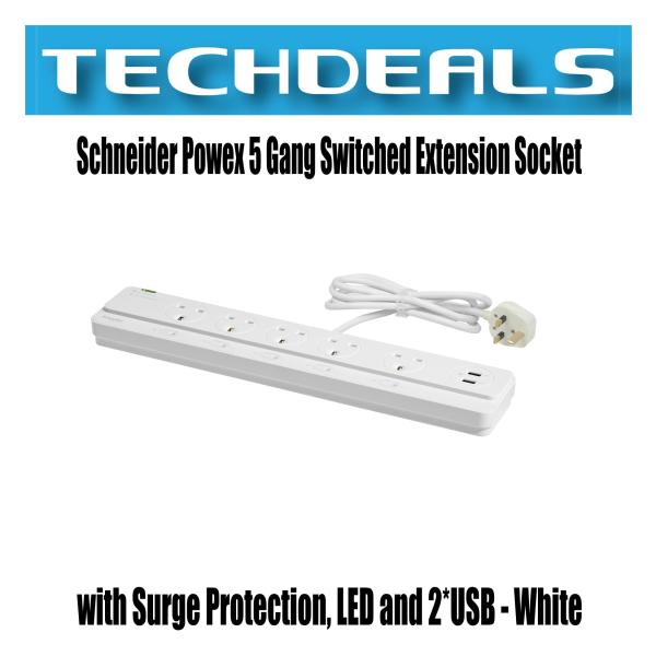 Schneider Powex 5 Gang Switched Extension Socket with Surge Protection, LED and 2*USB - White