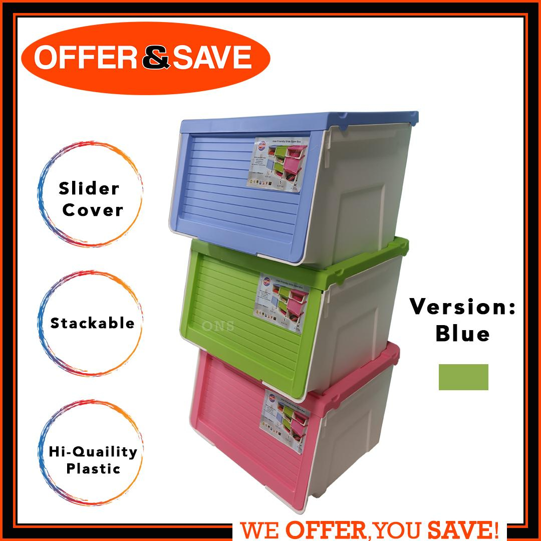 Maxonic Compact Stackable Storage Box With Silder Cover Lid