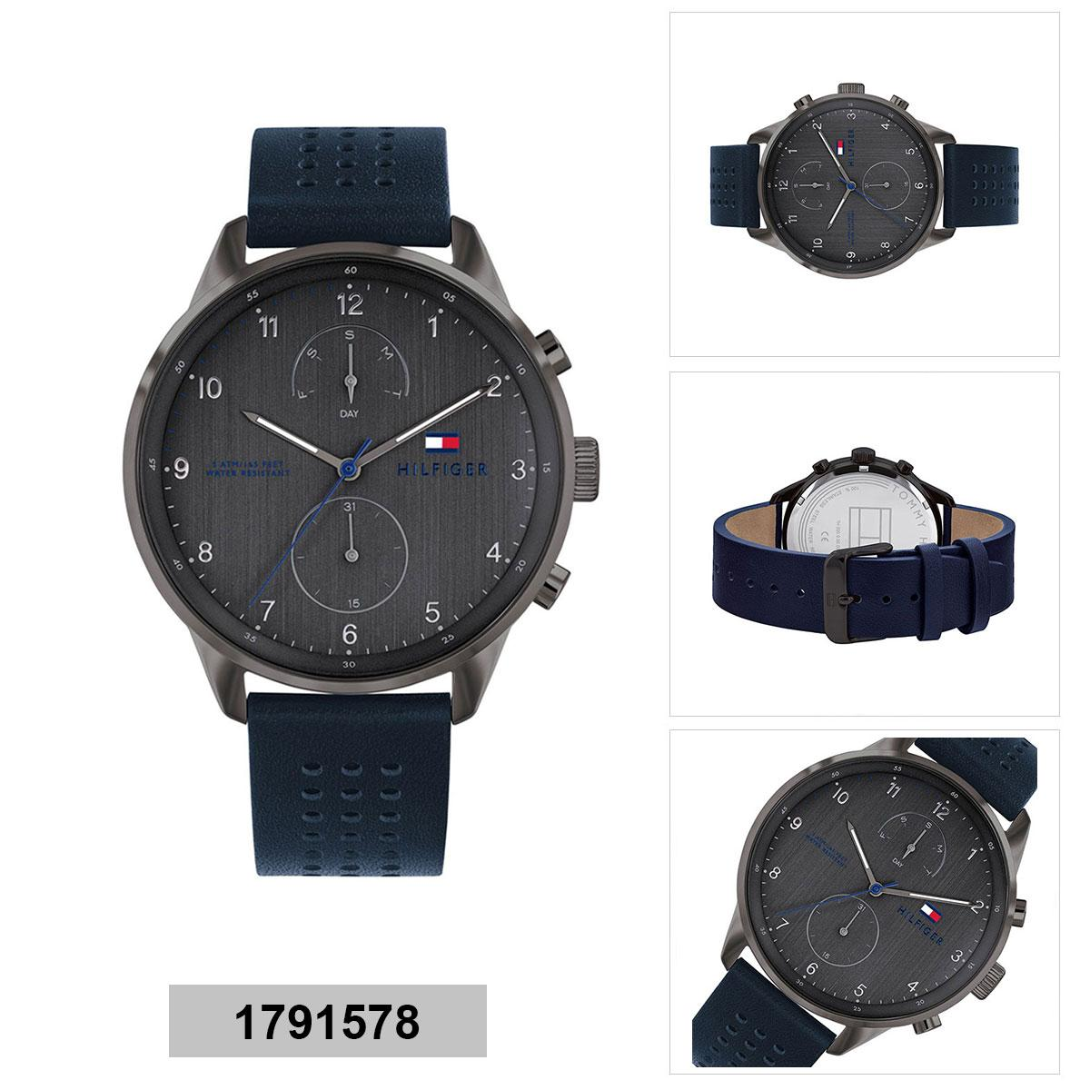7b2687374f Tommy Hilfiger Multi-function Blue Stainless-Steel Case Leather Strap Mens  1791578