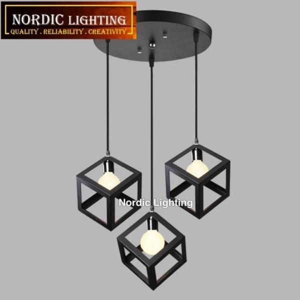 Nordic Lighting Best Seller 3 In 1 Round Base Designer Decorative Cube Hanging Lamp Pendant Lighting Ceiling Light Lampu Gantung Ikea Style Lampu Hiasan Siling (Z1044-3RB)