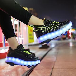 Nam Nữ Đơn Đôi Giày Bánh Xe Trẻ Em Tự Động Chiếc Ròng Rọc Giày Giày Biến Hình Đèn Dây Nổ Đi Giày Trẻ Em Với Giày Bánh Xe thumbnail