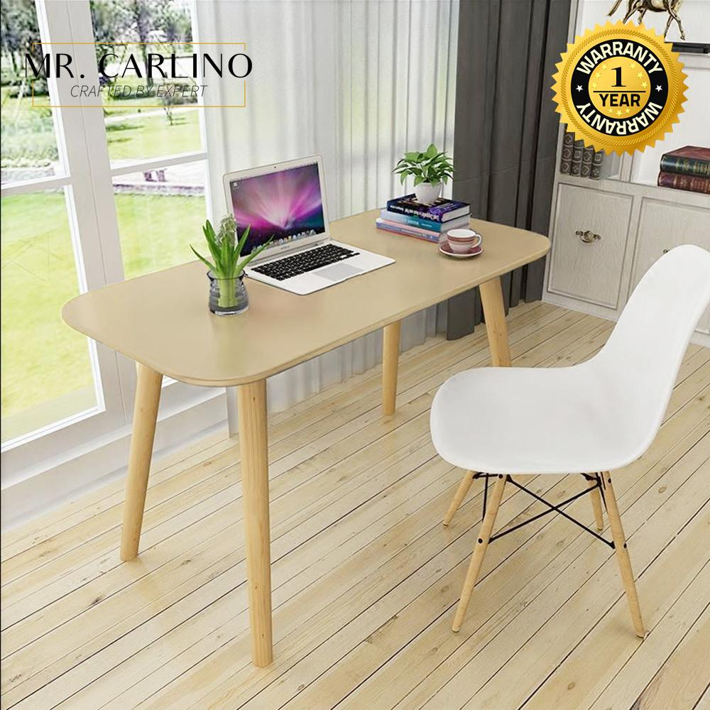 TILLIE Round Edged Home Office Table with Wooden Legs