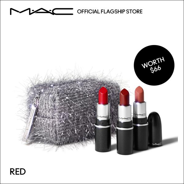 Buy [Holiday Special] MAC Frosted Firework - 4-pcs Lipstick Make Up Set with 3-pcs Mini MAC Lipsticks, 1.7g each (worth $66) • Fireworked Like A Charm Mini Lipstick Kit: Pink/ Red Singapore