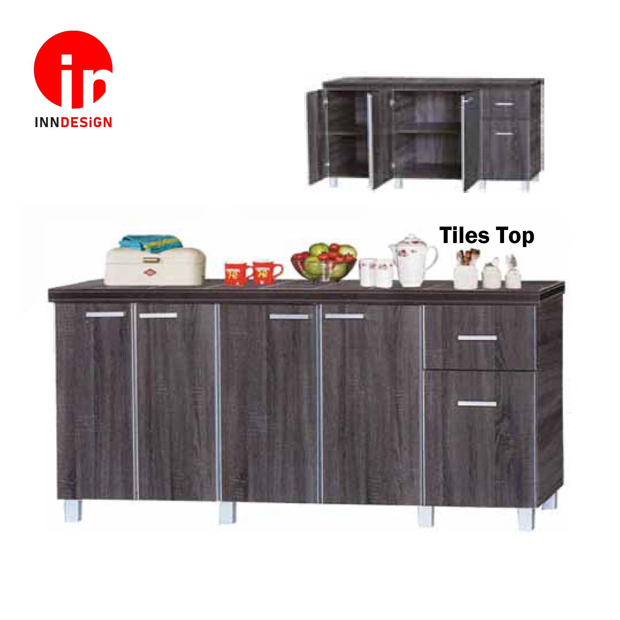 Cassiva 5 Doors With Drawer Kitchen Cabinet (Ceramic Tiles Top) (Free Delivery and Installation) (Dark Oak)