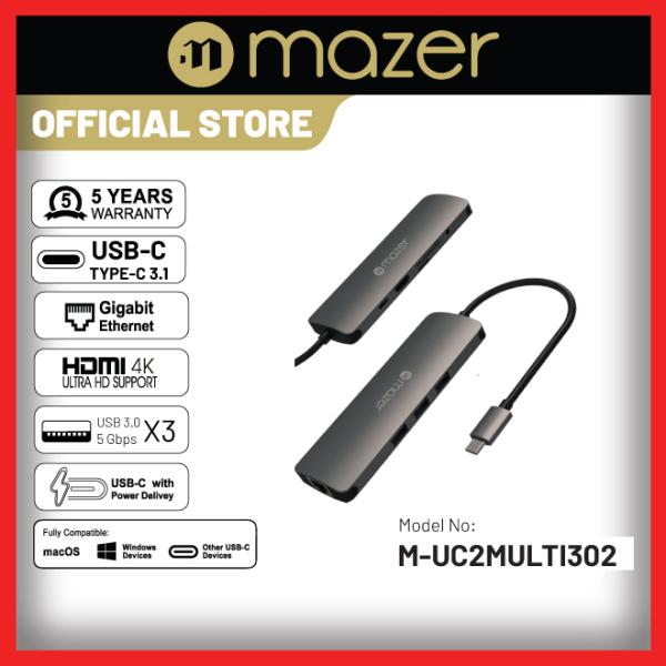 Mazer USB-C Multiport HUB Adapter w LAN Port (5 year warranty)