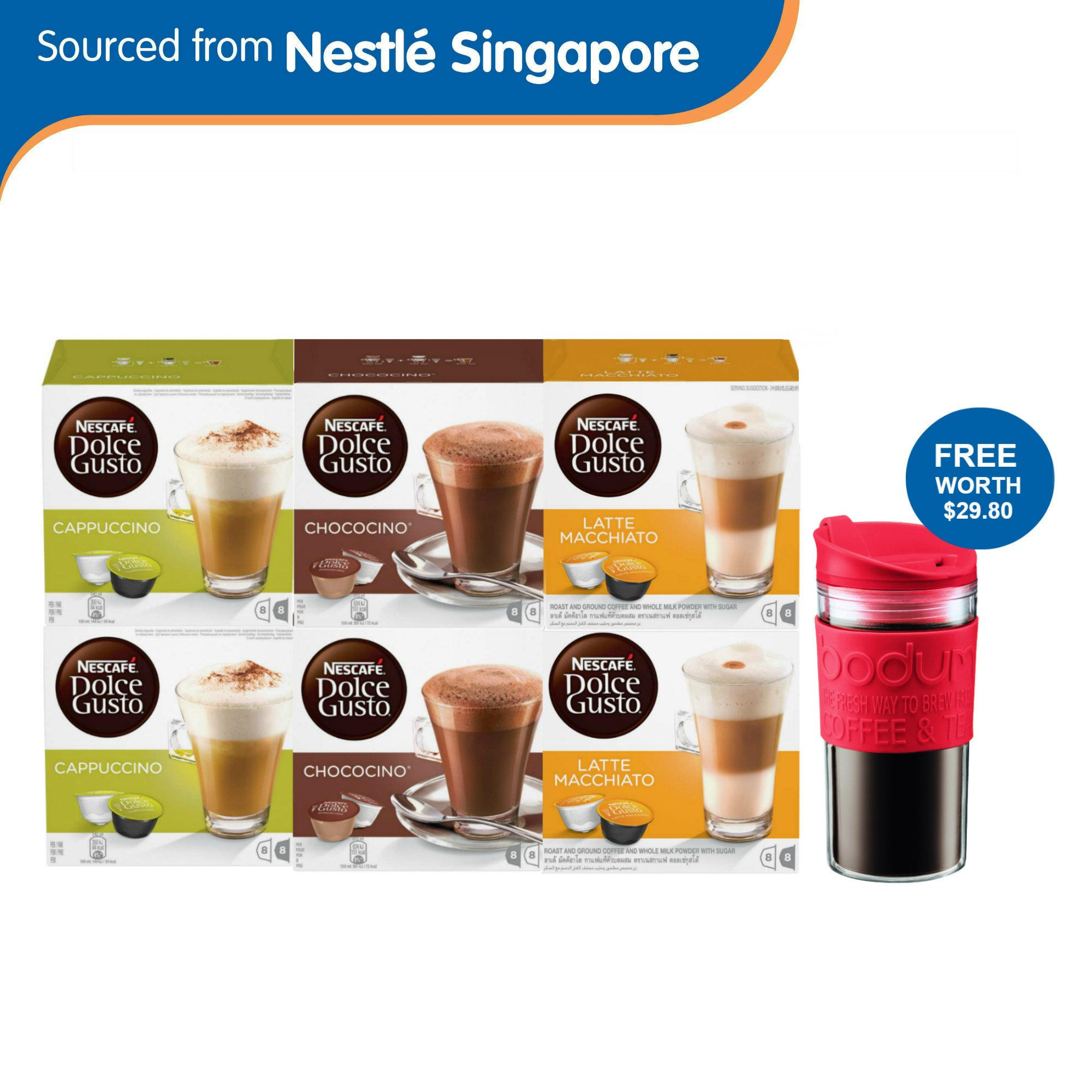 (6 Box Bundle) Nescafe Dolce Gusto White Cup Lovers Capsules + Free Bodum Travel Mug (worth $29.80) By Nestle Official Store.