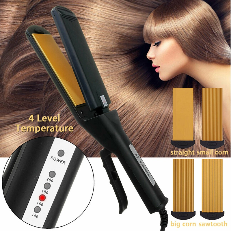 US Plug 220V 4 in 1 Replaceable Ceramic Hair Curly Hair Straight Iron Flat Iron Crimped Hair Iron cao cấp