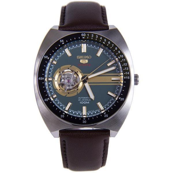Seiko 5 SSA333J1 SSA333J SSA333 Sports Automatic Green Dial Leather 100M Men's Watch