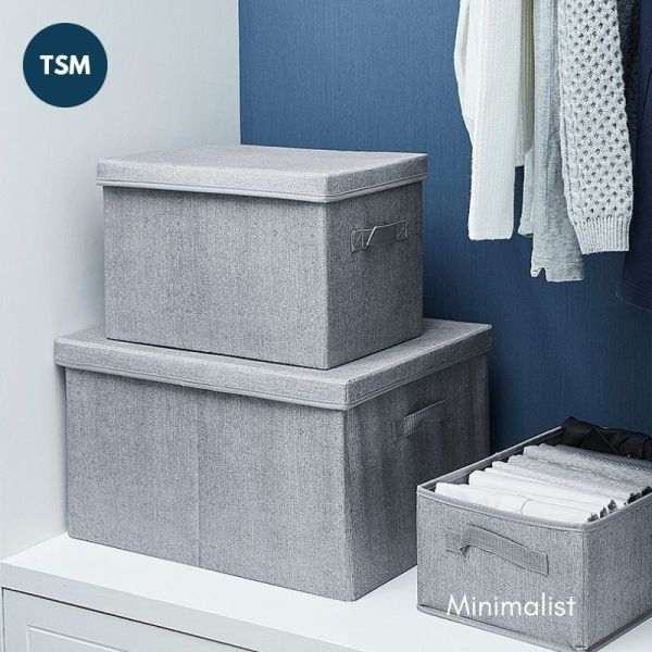 TSM Single Foldable Storage Wardrobe Organizer Box for Clothing Towel Bedsheet  Oxford Fabric Linen