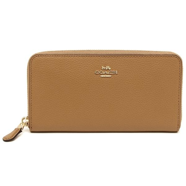 Coach Accordion Zip Wallet In Polished Pebble Leather Wristlet Light Saddle Brown # F16612