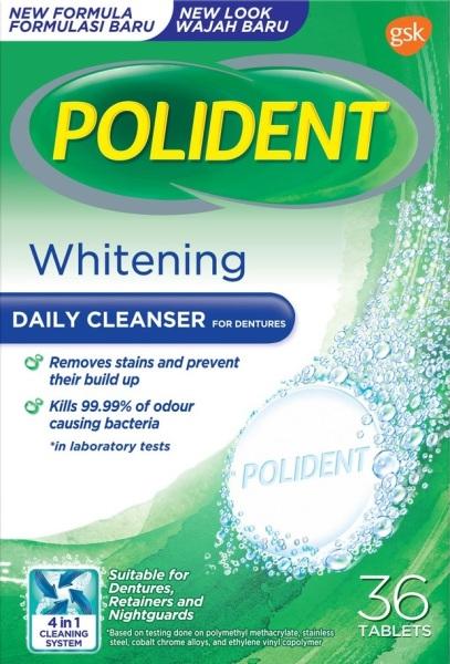 Buy [BUNDLE OF 2] POLIDENT OVERNIGHT WHITENING DENTURE CLEANSER 36s x 2 Singapore
