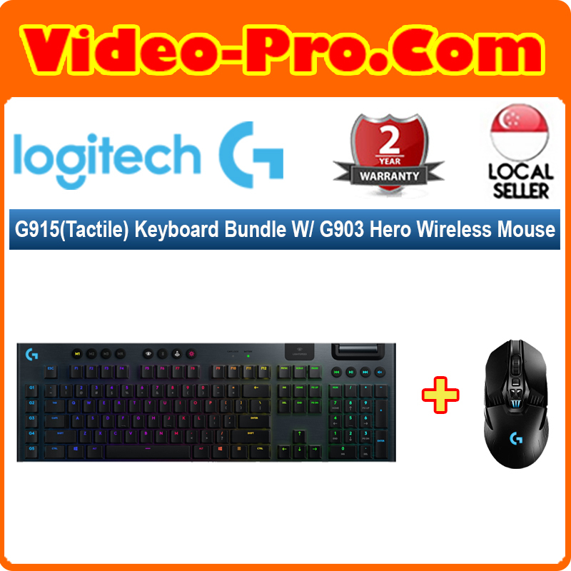 [Valentine 2-in-1 Bundle] Logitech G915 (Tactile) Keyboard (920-009226) Bundle With G903 Hero Wireless Mouse (910-005674) Singapore