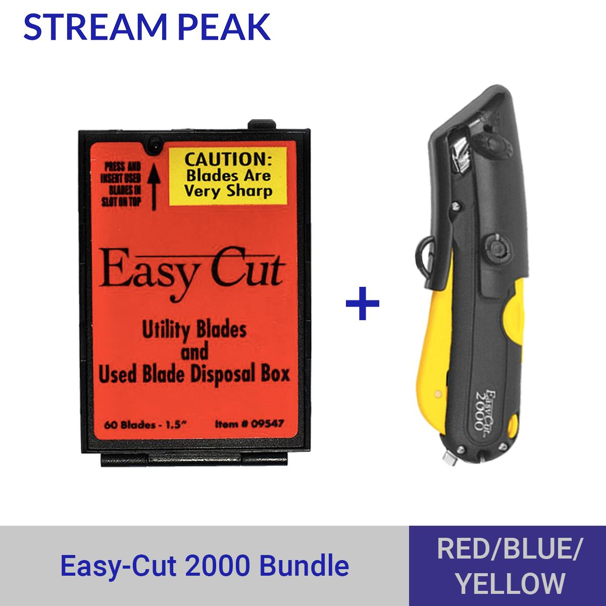 [BETTER ALTERNATIVE TO PENKNIFE] Easycut 2000 Safety Cutter Yellow + 1 Easycut Blade Dispenser Box Bundle [ Prevent Content Damage, Protect Users, Retractable Blade, Replaceable Blade ]