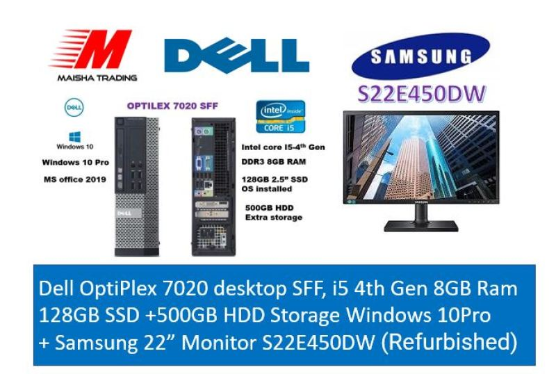 "Dell OptiPlex 7020 desktop SFF, i5 4th Gen 8GB Ram 128GB SSD +500GB HDD Storage Windows 10Pro  + Samsung 22"" Monitor S22E450DW (Refurbished)"