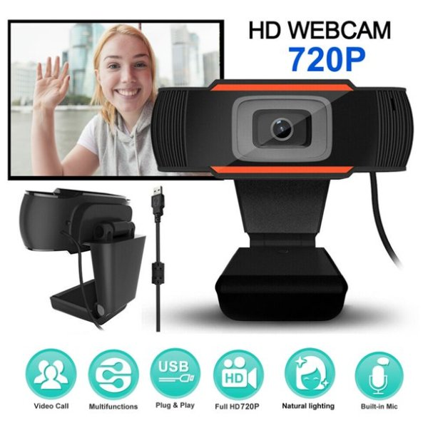 Web Cam with Microphone and Auto-Focus Lens for Video Conference - 720P or Full HD 1080P Camera with USB and Built in Mic