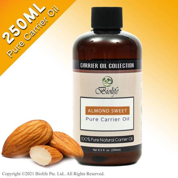 Buy Biolife Almond Sweet Pure Carrier Oil (250ml), For Aromatherapy Relaxing Massage, Carrier Oil for Diluting Essential Oils, Hair & Skin Care Benefits, Moisturizer & Softener Singapore