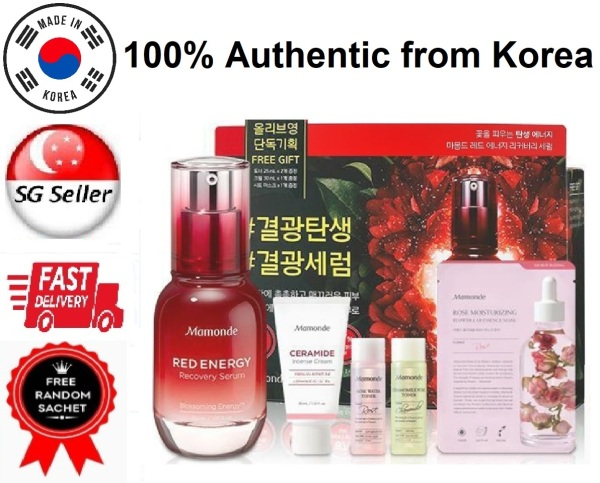 Buy *MAMONDE* RED ENERGY RECOVERY SERUM 30ML *LIMITED EDITION GIFT BOX SET* (5 ITEMS TOTAL 135ML) SG SELLER FAST DELIVERY *LATEST EXPIRY 2022* EACH SET INCLUDES 2 TONERS 1 SERUM 1 CERAMIDE INTENSE CREAM 1 ROSE MASK BEAUTY BESTIE -100% AUTHENTIC -MADE IN KOREA Singapore
