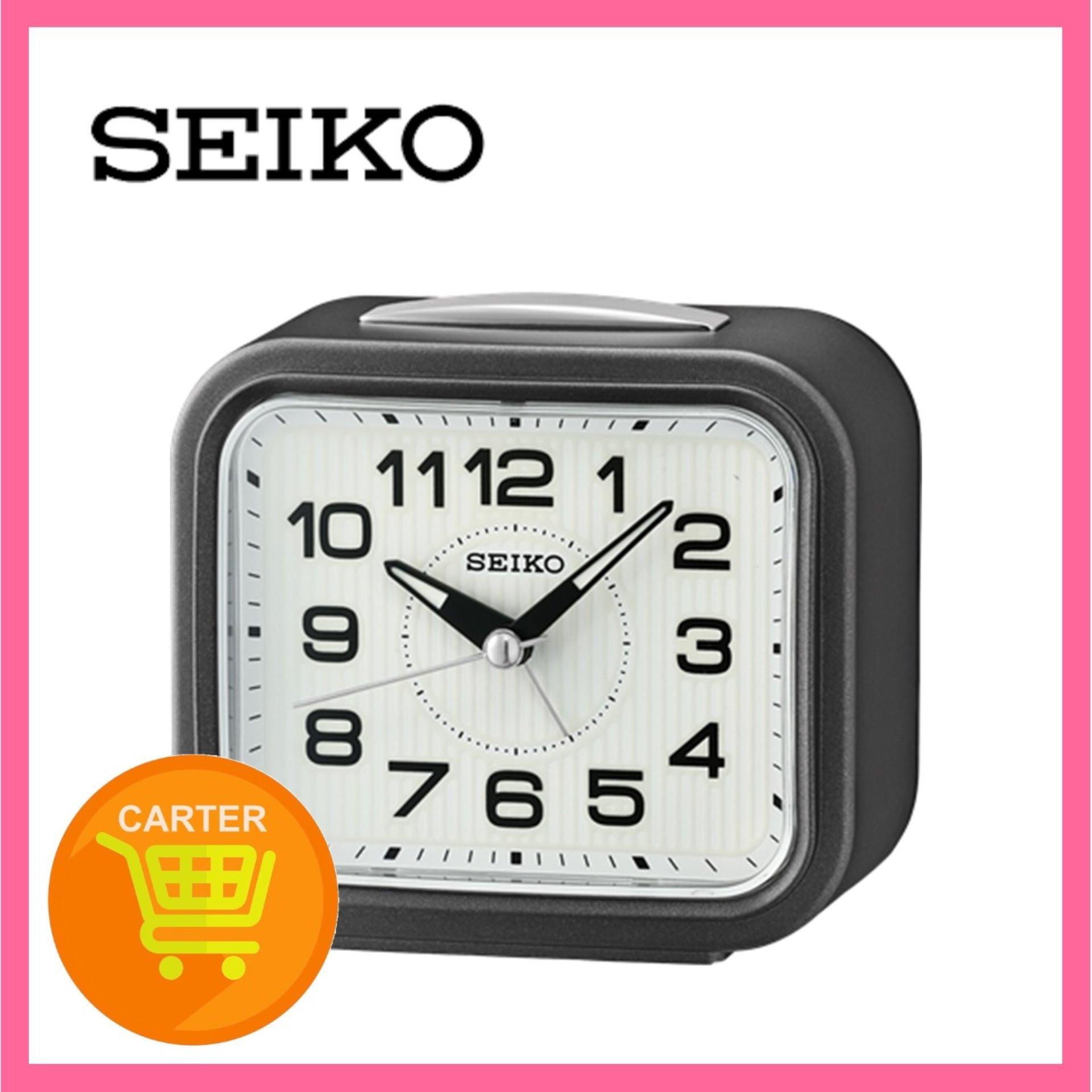 SEIKO SILENT MOVEMENT ALARM CLOCK (BELL+SNOOZE+LIGHT+LUMIBRITE) QHK050 BLACK