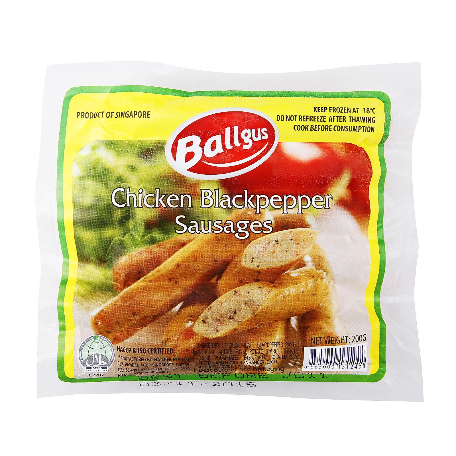 Ballgus Chicken Black Pepper Sausages - Frozen