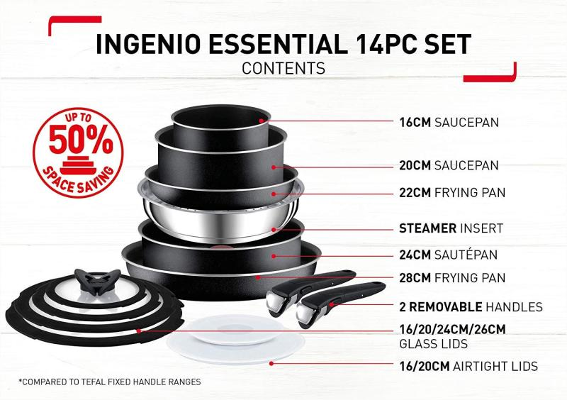 Tefal Ingenio Essential 14 Pc Pots and Pans Set, Black (Preorder-Arrive in 7-12 working days) For all cooktops except induction Singapore