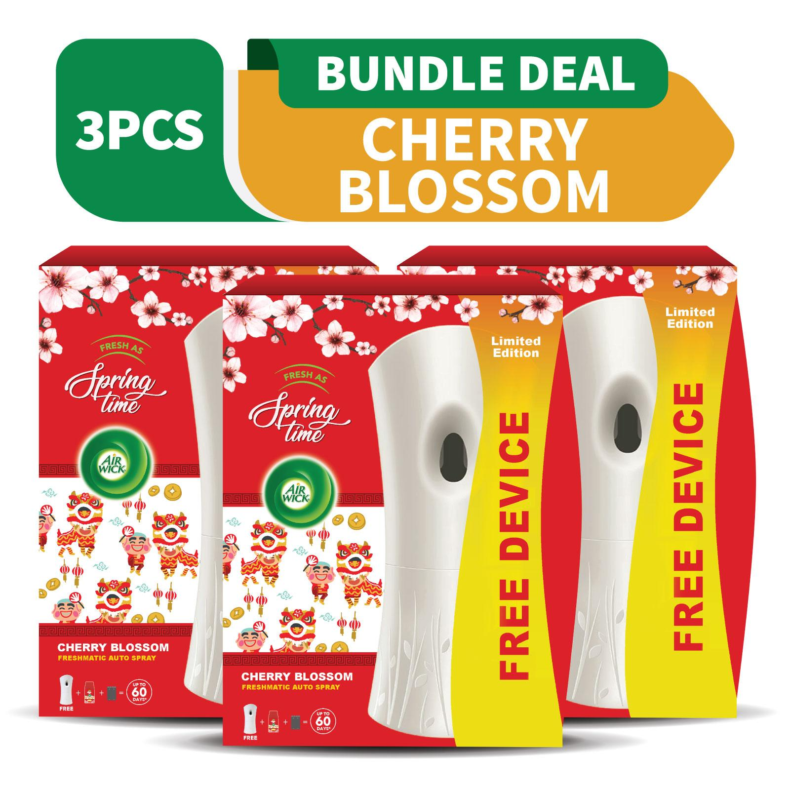 Air Wick Fresh as Spring Time Freshmatic Refill Cherry Blossom + Free Gadget - Bundle of 3