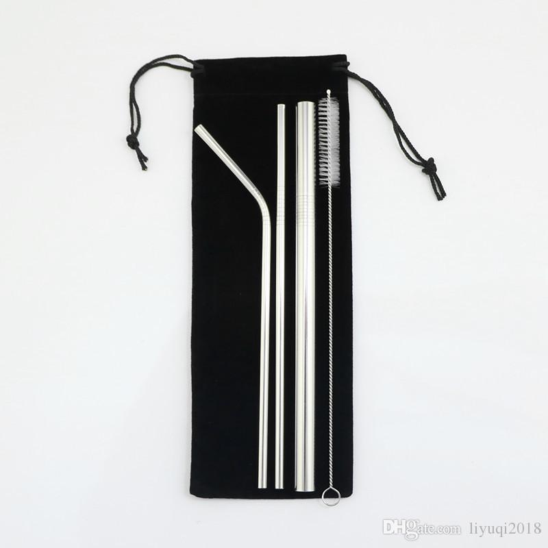 304 Stainless Steel Straws , 4pcs Reusable Drinking Straws ,comes With Storage Bag By Avyansteel.