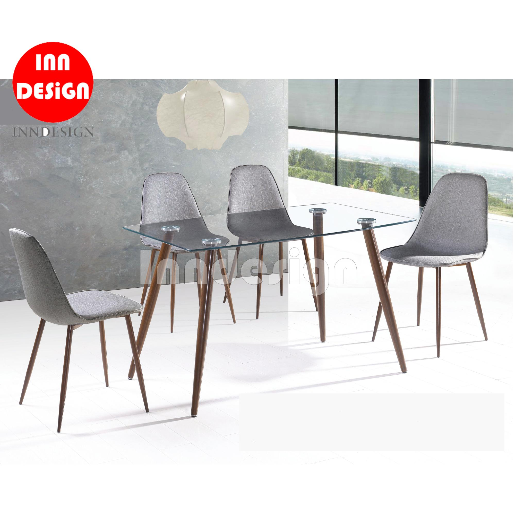 Alder Glass Top 1+4 Dining Table Set (Free Delivery and Installation) (1 Year Warranty)