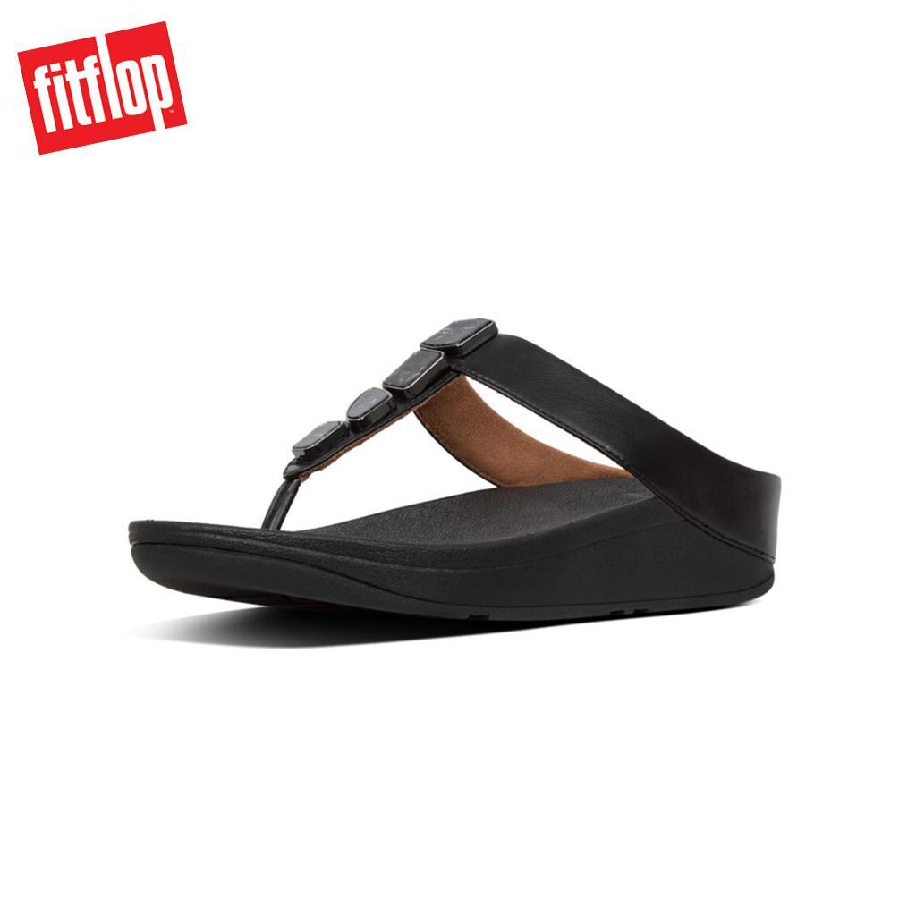 71a1c9e97 Fitflop™ Fino Shellstone Black Women Wedges Sandal