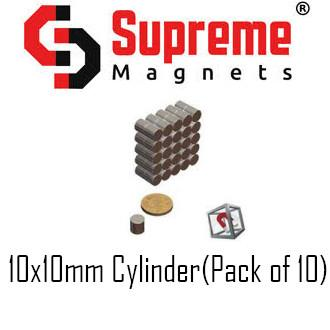 N50 Super Strong Powerful Neodymium magnet 10mm x 10mm cylinder (pack of 10) LTS-SM-ND1010