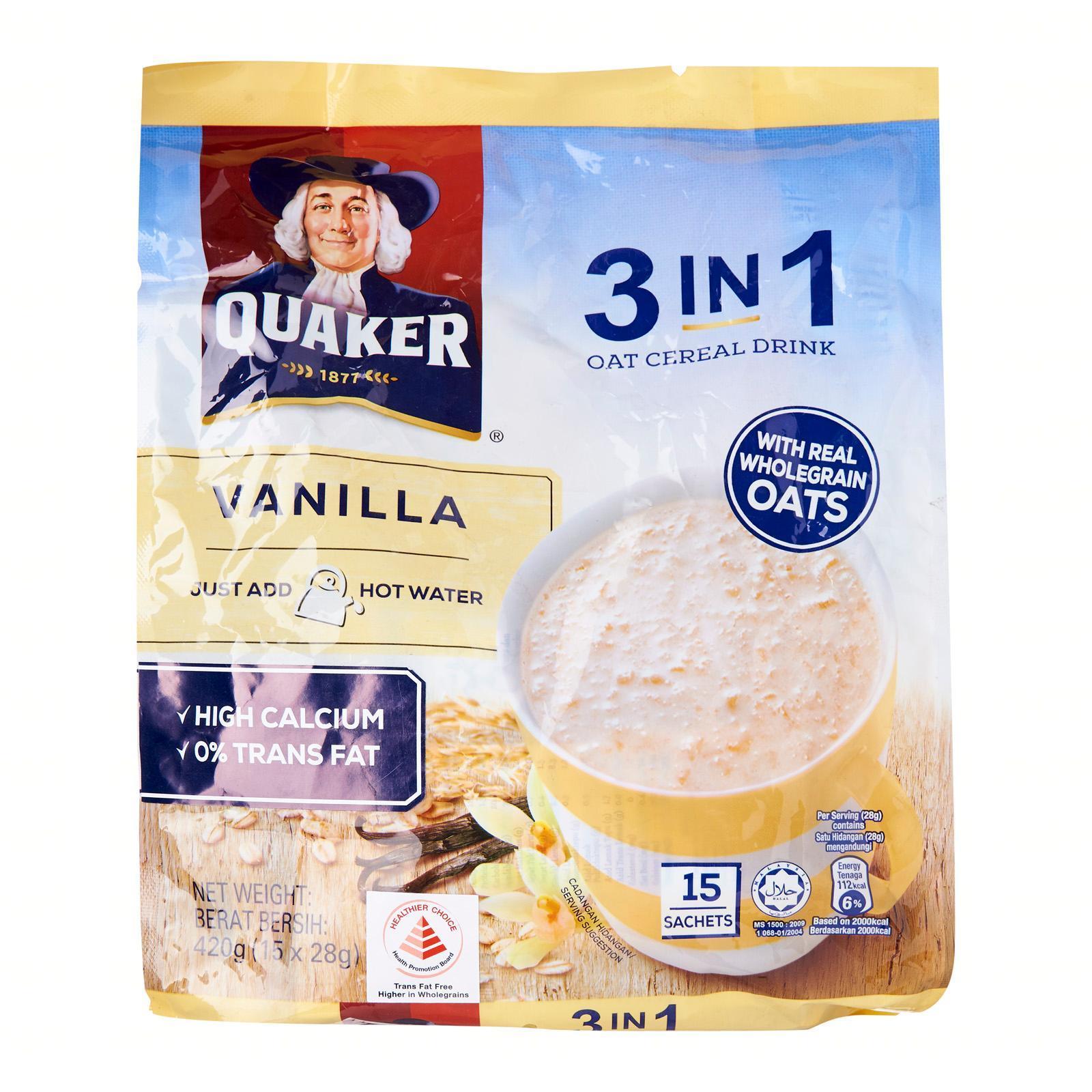 Quaker 3 -in - 1 Vanilla Oat Cereal Milk Instant Cereal Milk