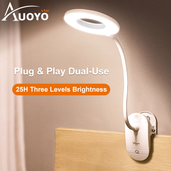 Auoyo 18LED Table Lamp Clip USB Night Light Desk Lamp 3 Modes Touch On/off Switch Light 4000K Eye Protection Light Dimmer Rechargeable Free 1 Month Warranty
