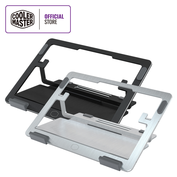 Cooler Master ErgoStand Air Notebook Stand, 5 Height Settings, Aluminum Alloy Structure, CNC Brushed Metal Finish, Up to 15 Notebooks